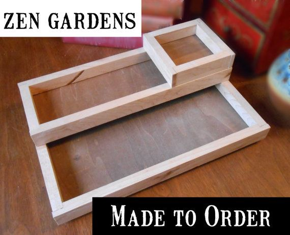DESKTOP ZEN GARDEN made to order sizes, wood boxes miniature zen garden