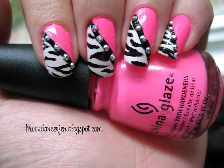 pink and black jeep ideas | Moondancerjen's Nails: Hot Pink Zebra Nails
