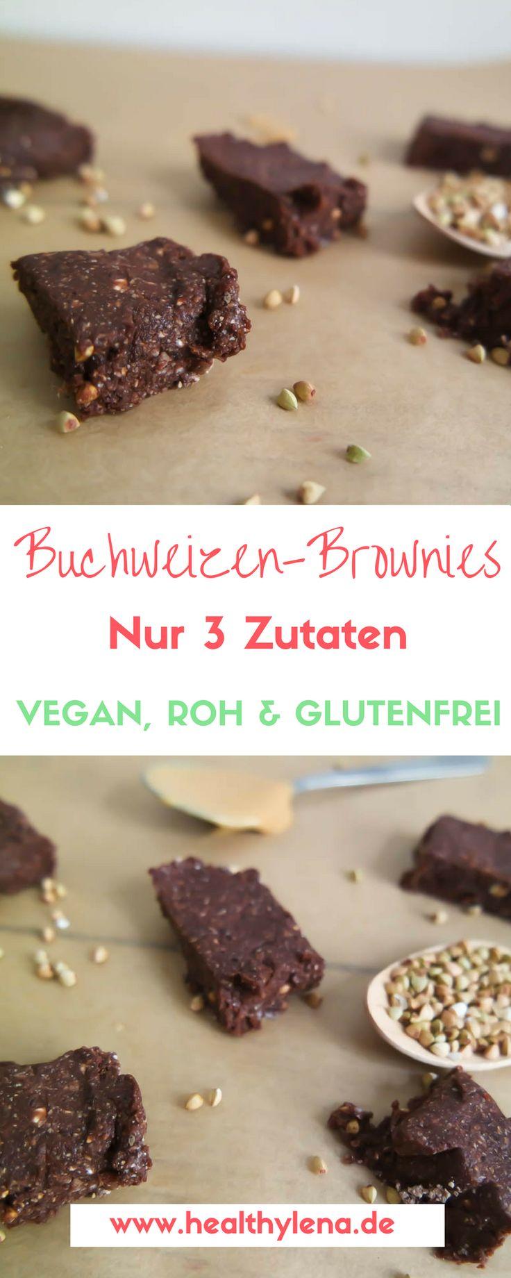 Rohe Buchweizen-Brownies - vegan, glutenfrei & fettarm - gesund naschen - mit nur 3 Zutaten #healthy #brownies #rohkost #lecker #schnell #einfach #healthylena #schoko #fudge #dessert #süß