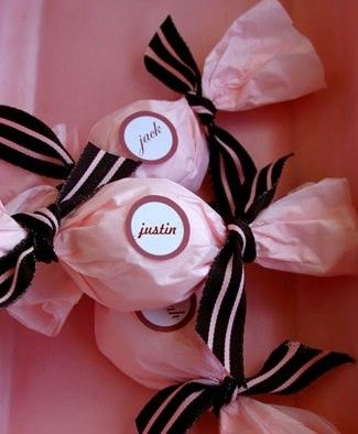 Chic Candy Wraps - for a pink or Parisian-themed bridal shower I could put cotton candy in these!!!
