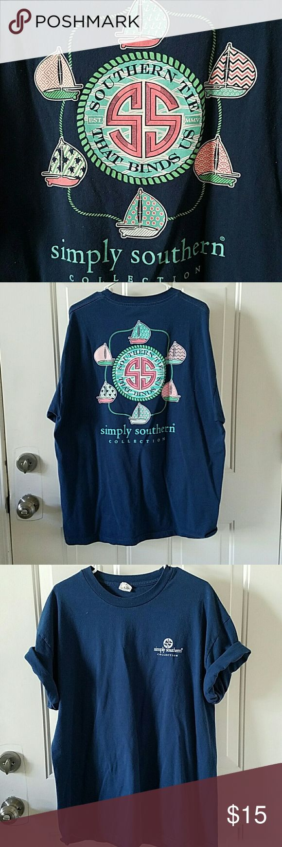 Simply Southen Navy Tee XL Unisex tee. Sailboats on back. simply southern Tops Tees - Short Sleeve