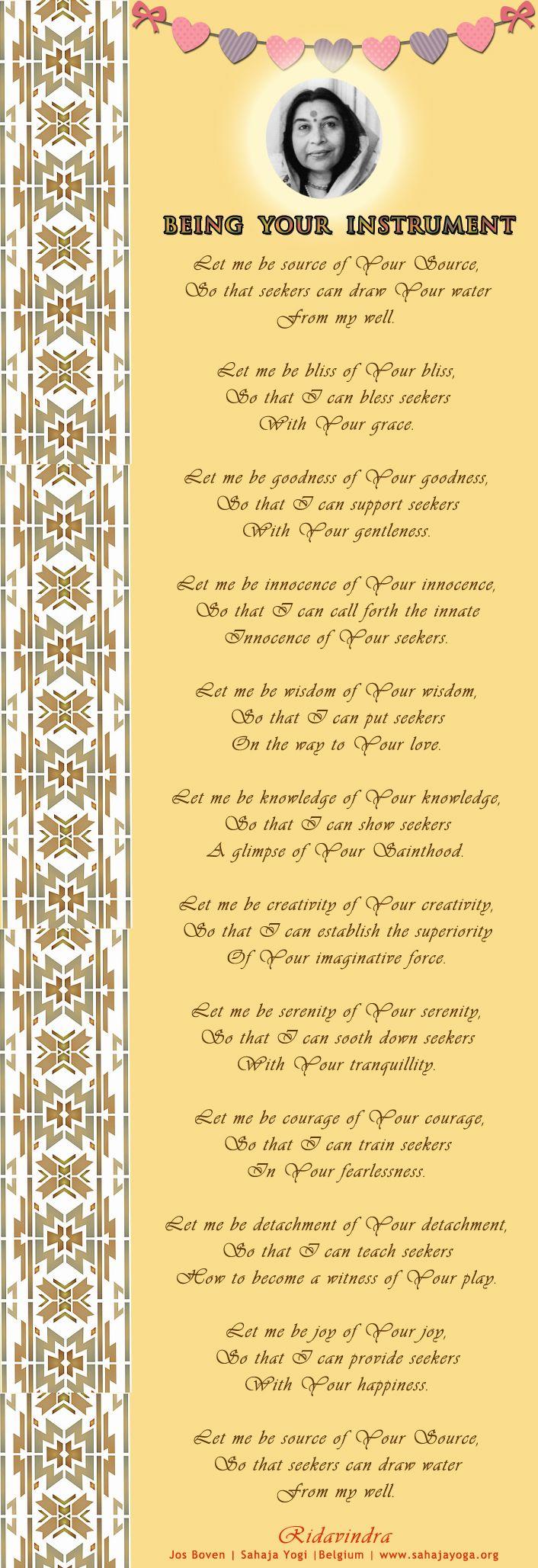 Being Your Instrument - Poem  Ridavindra Jos Boven   Sahaja Yogi  Belgium   www.sahajayoga.org