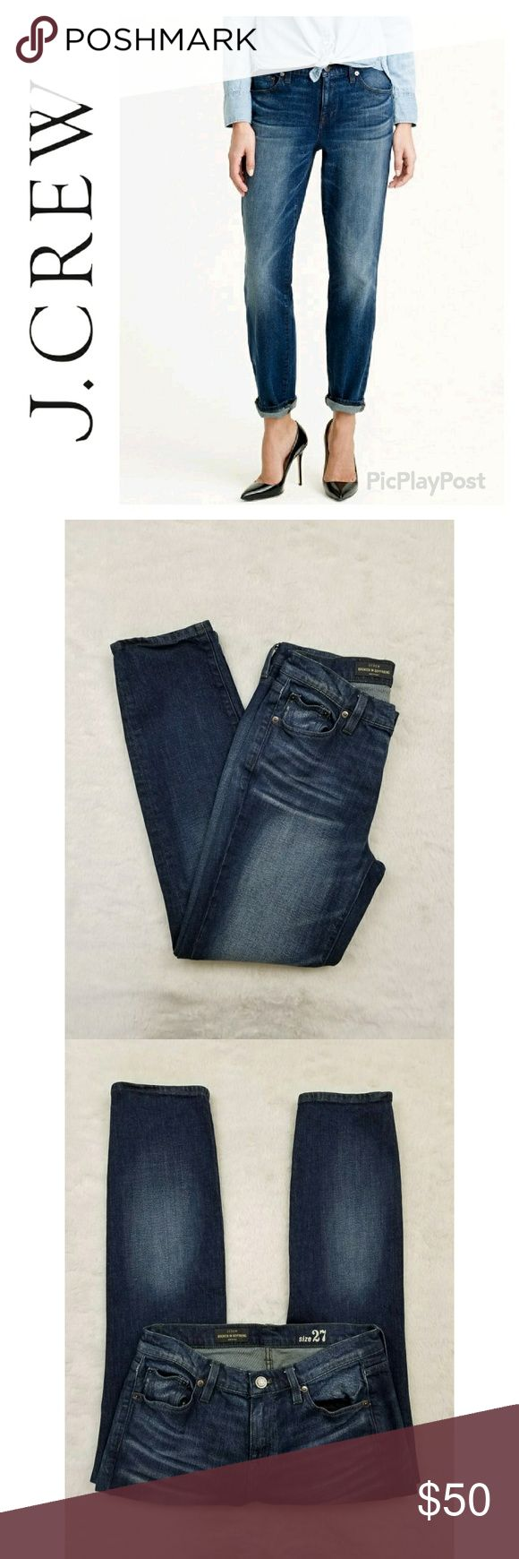 "NAME YOUR PRICE J. Crew Broken in Boyfriend Jean J. Crew Broken in Boyfriend jean in Freddie wash. Sits lower on hip. Relaxed through hip and thigh, with an easy, straight leg. Size 27. Inseam approximately 29"" Excellent pre-owned condition. No visible flaws. J. Crew Jeans"