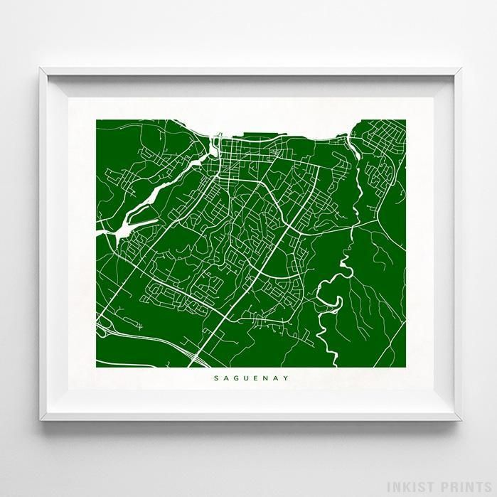 Saguenay Canada Street Map Wall Decor Poster