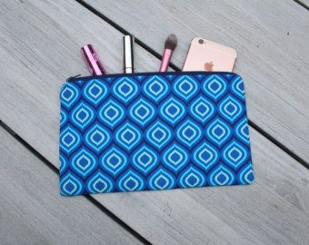 Stunning Shades Of Blue Marble Patterned Pencilcase/Makeup Bag