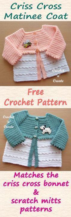 Free baby crochet pattern for a crisscross matinee coat. #crochet