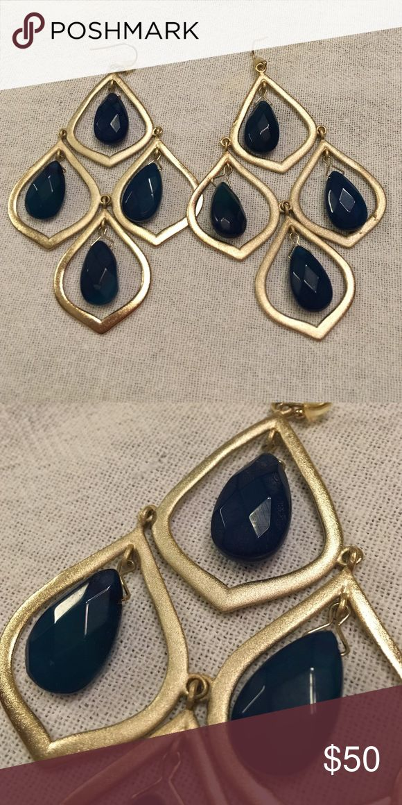 Kendra Scott Kyle Earrings in Blue Agate From 2011 Candy collection. Worn a few times. In great shape. Features 8 blue agate stones and 14k gold plated metal. Kendra Scott Jewelry Earrings
