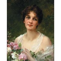 A portrait of a lady Artists wife by Conrad Kiesel