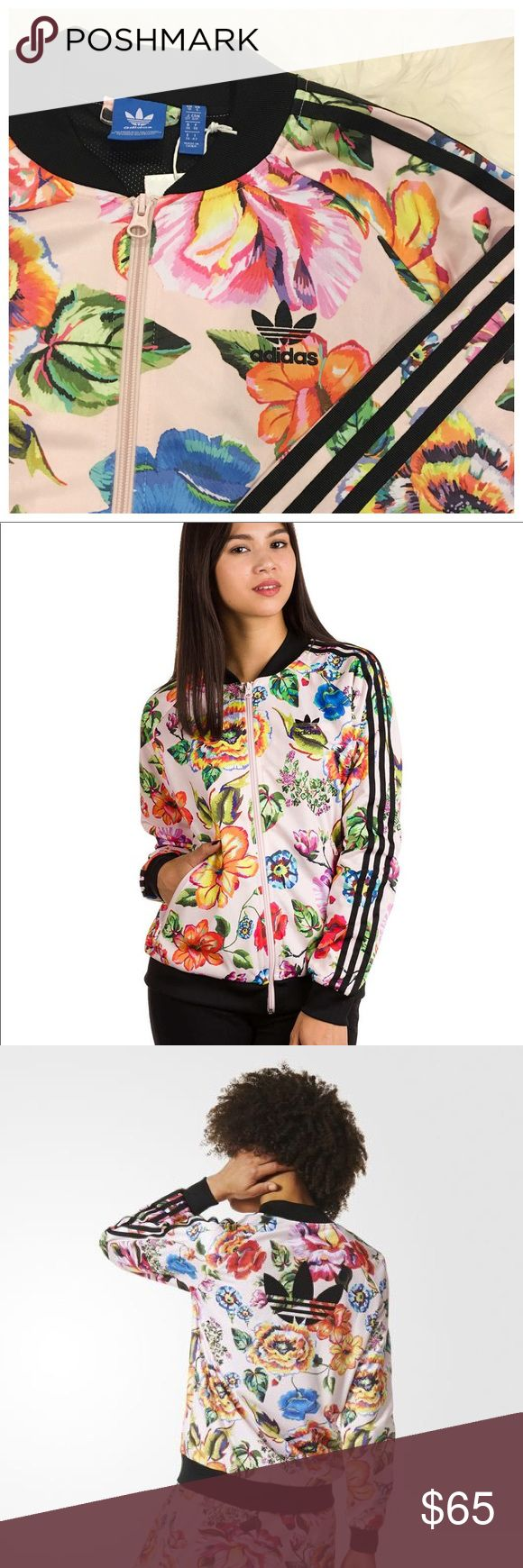 Adidas Floralita Track Jacket * Adidas sporty chic Floralita sst track jacket w/ pastel tropical flair, trefoil logo in front chest corner and in back. Feministic print inspired by Brazil's flora for a fresh vibrant look. Collab w/ Brazil's The FARM Company. Mesh lined zip up jacket w/ shiny tricot material. Zipper pockets. Raglan sleeves, baseball collar, regular fit. * Perfect bomber for any outfit. * Size: Small (Laid flat armpit to armpit: 19 in, length: 25 in.  * Feel free to ask any…
