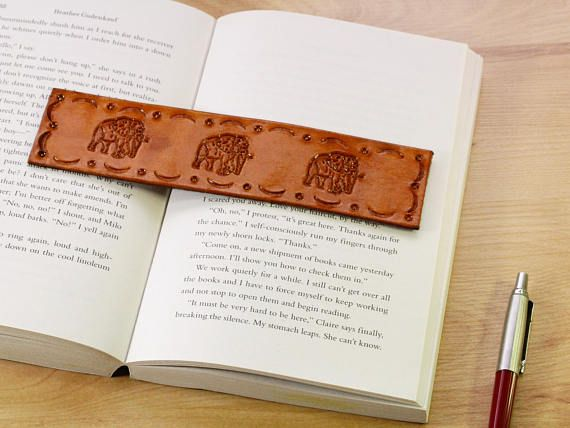 Handmade Bookmark, Leather Bookmark, Elephant Bookmark, Elephant Gift. Repin To Remember.