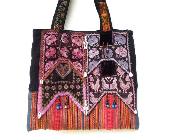 Hand Embroidered ethnic Tote tribal textile boho style (Vintage Hmong Fabric)  http://www.etsy.com/listing/96905372/hand-embroidered-ethnic-tote-tribal: Hmong Fabrics, Ethnic Totes, Hands Embroidered, Embroidered Ethnic, Tribal Textiles, Styles Vintage, Totes Tribal, Textiles Boho, Boho Styles