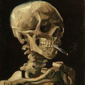 muurdecoratie wanddecoratie schilderij Kop van een skelet met een brandende sigaret Van Gogh Museum Kunst