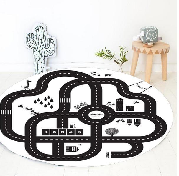 Baby Soft Play Mat Sport Crawling Mats Baby Carpet Blanket Children Play Rug Racing Games Carpet Infant Room 100% Cotton 95cm