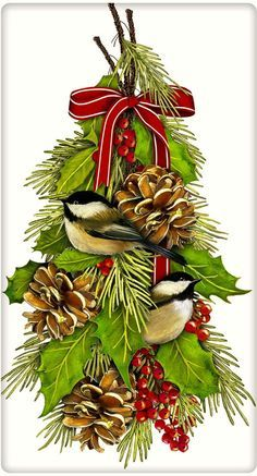 Chickadees with Hanging Pine and Holly Christmas 100% Cotton Flour Sack Dish Towel Tea Towel