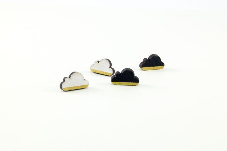 Wooden Stud Earrings | Handmade Painted Gold Strip Cloud Geometric Shape Earrings