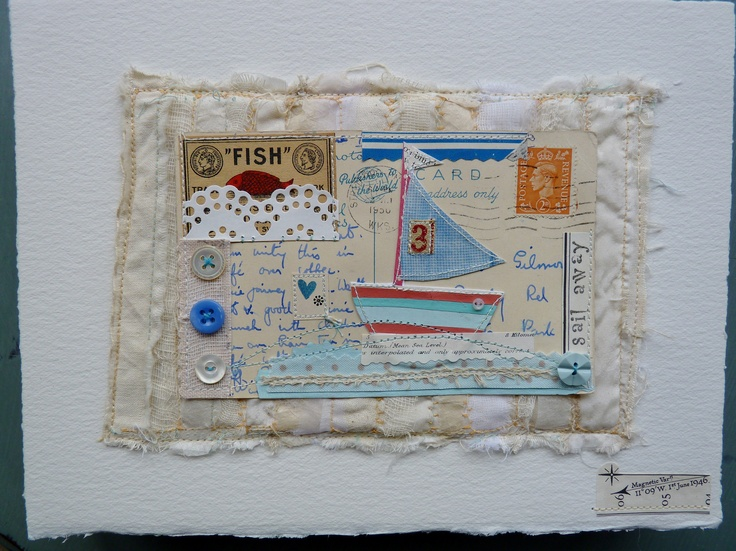 Mixed media on canvas  'Number three sails away'