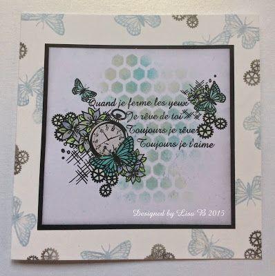 Handmade card. Imagination Crafts stencils, paint & Timeless Flooral Elegance stamps.