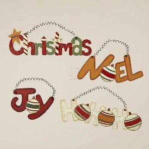"""WOODEN WORD ORNAMENT, SET OF 4 ASSORTED: """"HO HO HO, """" """"JOY, """" """"CHRISTMAS"""" & """"NOEL """""""
