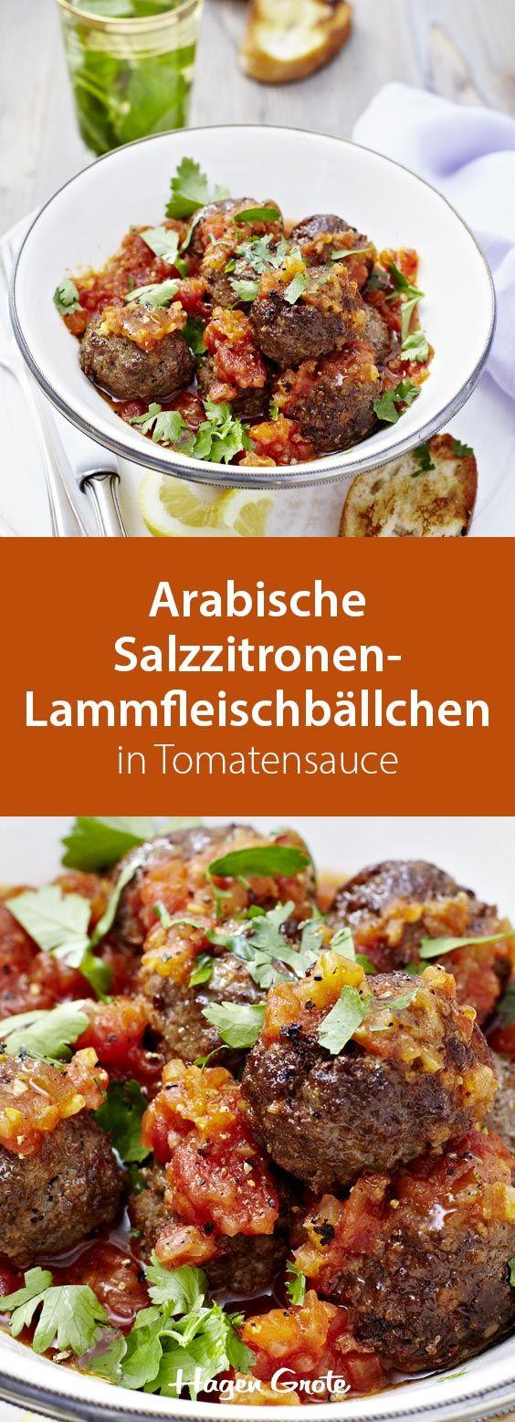 Arabische Salzzitronen-Lammfleischbällchen in Tomatensauce
