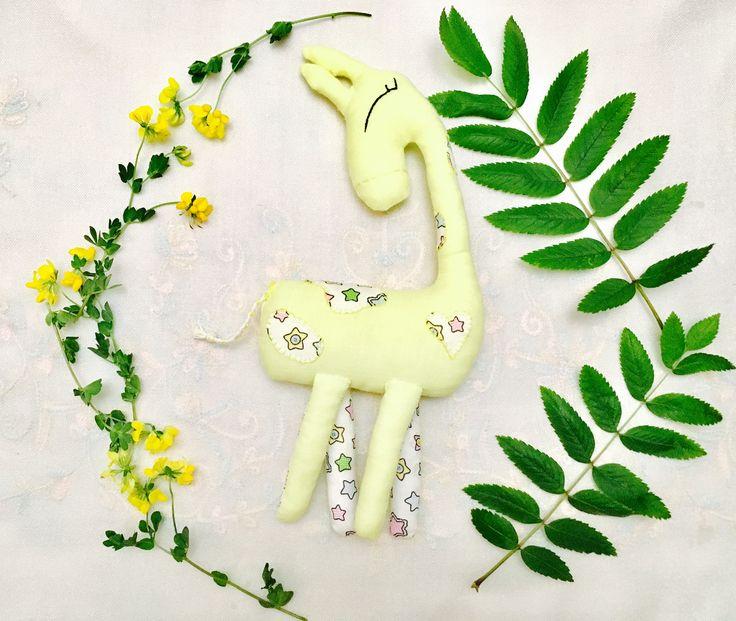 Yellow Giraffe Toy eco friendly linen
