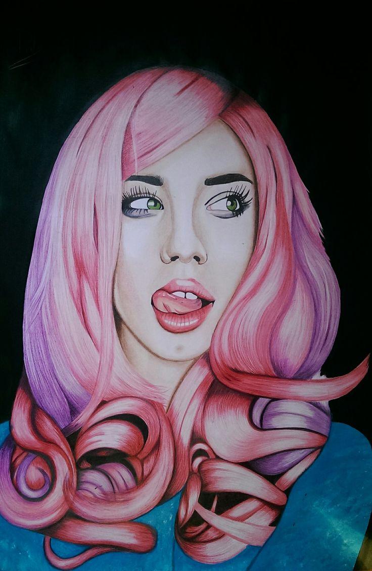 pink hair study #hairstudy #carmengrebenisan #hair #drawing #pencils