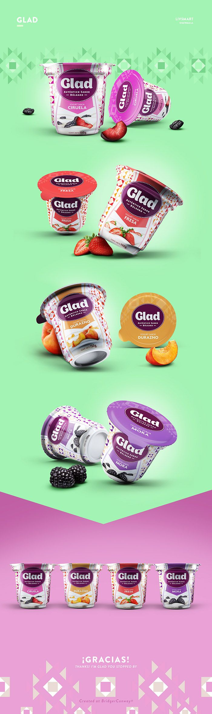 Glad yogurt by Julieta Fernandez Castex. Source: Daily Package Design Inspiration. #SFields99 #packaging #design