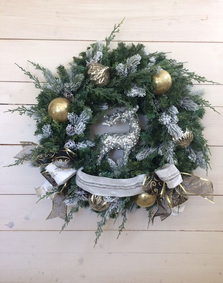 Items similar to Silver Reindeer Christmas Wreath