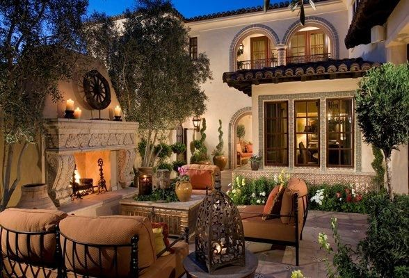 Mediterranean tuscan home exterior patio new house for Courtyard entertaining ideas