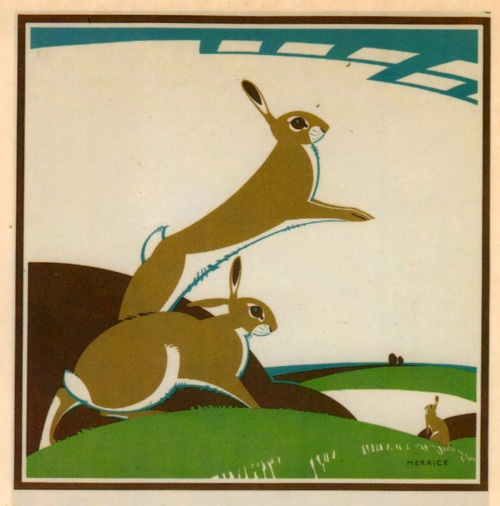 Deco-style hares against the moon by F. C. Herrick 1922