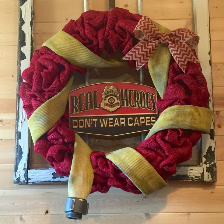 """Fireman Firefighter Fire Department Fire Hose """"Real Heroes Don't Wear Capes"""" Burlap Wreath by AudraFaye❤️"""