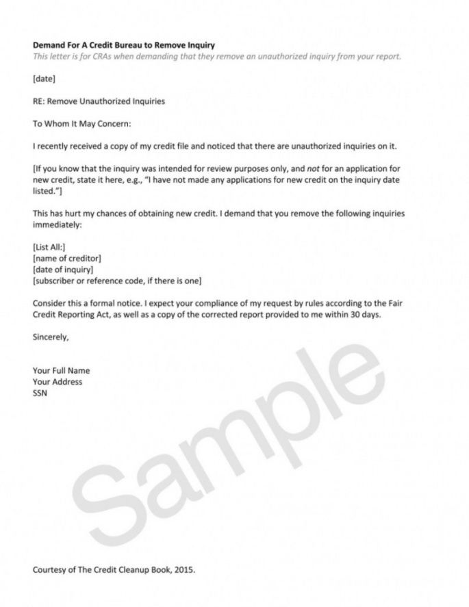 Get Our Sample Of Credit Inquiry Removal Letter Template For Free Letter Template Formal Letter Template Lettering