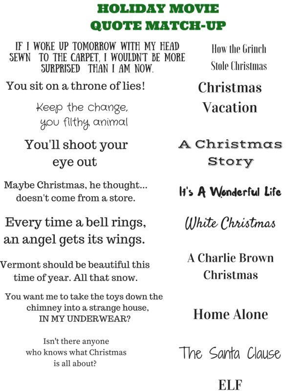 how well do you know your holiday movies? Try this quote matching game -- great for parties or family get-togethers!