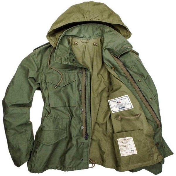 Cockpit USA Military Spec M65 Field Jacket ($350) ❤ liked on Polyvore featuring outerwear, jackets, military inspired jacket, green jacket, military jacket, military style jacket and military fashion