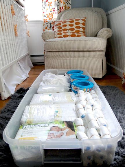Use storage bins under the crib. // 25 Hacks To Make Room For A Baby In Your Tiny Home