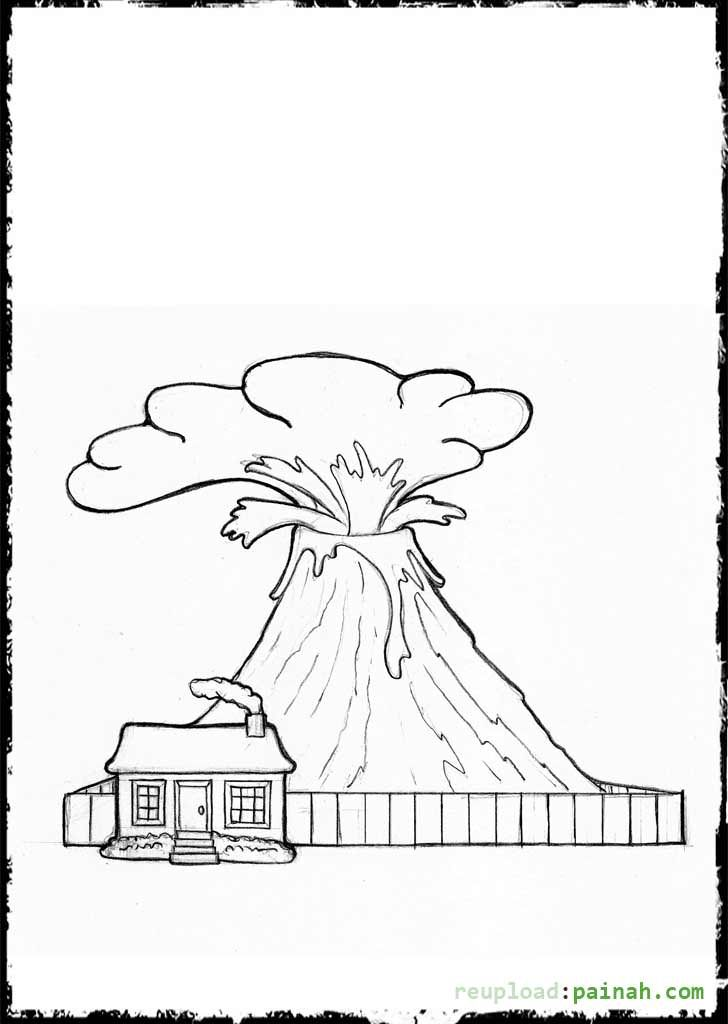 Coloring Pages Of A Volcano | Volcano | Pinterest