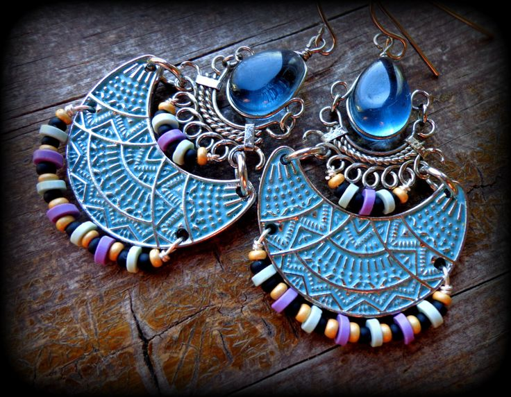 african earrings vinyl disc earrings alpaca silver indian bollywood jewelry gypsy jewelry boho chic blue moon earrings crescent hoops (43.00 USD) by anainc