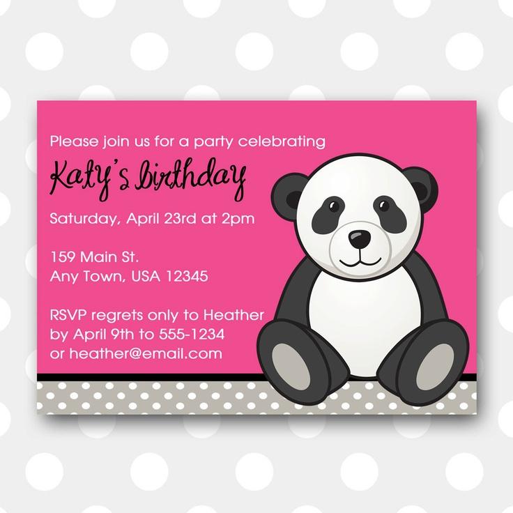 Printable Birthday Party Invitation - Sweet Panda. $10.00, via Etsy.