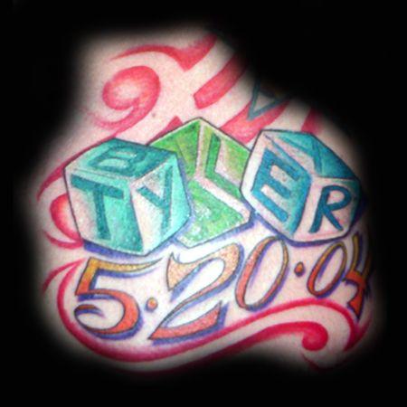 baby name tattoo | ... the Map Tattoo : Tattoos : Kristel : Baby Tyler Building Blocks Tattoo