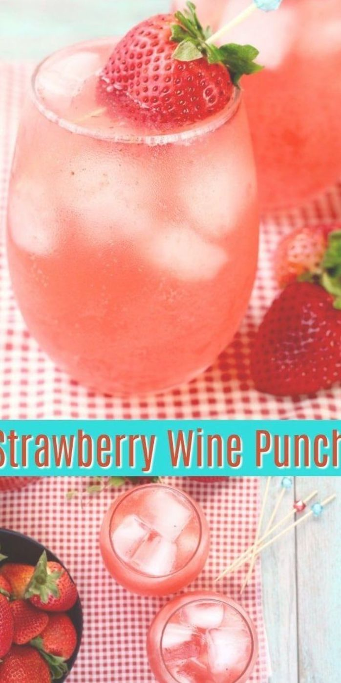 Easy Strawberry Wine Punch Cocktail The Perfect Large Batch Party Cocktail Cocktail Wine Strawberry Strawberry Wine Cranberry Juice Cocktail Wine Drinks