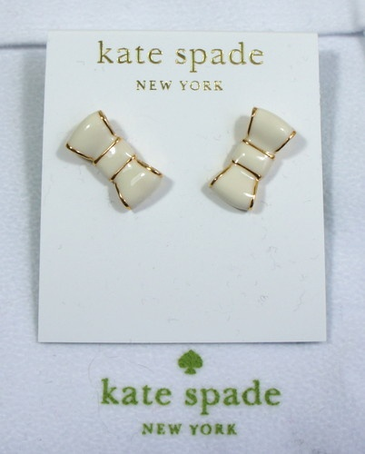 New Authentic Kate Spade Take A Bow Cream Studs In 14k Gold Plated Earring York Pinterest Earrings And