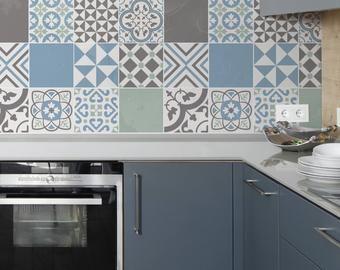 blue moroccan tile decals tile stickers set portuguese rh pinterest com