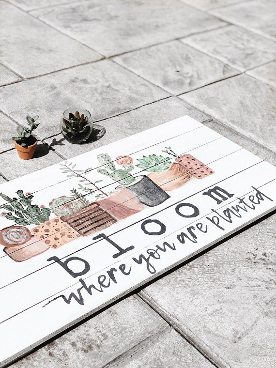 This Beautiful Handpainted Sign Is Perfect For Your Spring Decor The Painted Succulents Are All Done With Att Rustic Wall Art Hand Painted Signs Succulent Art