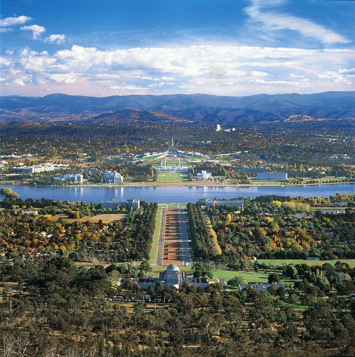 Canberra: The National War Museum in the foreground and the two House's of  Parliament in the background.