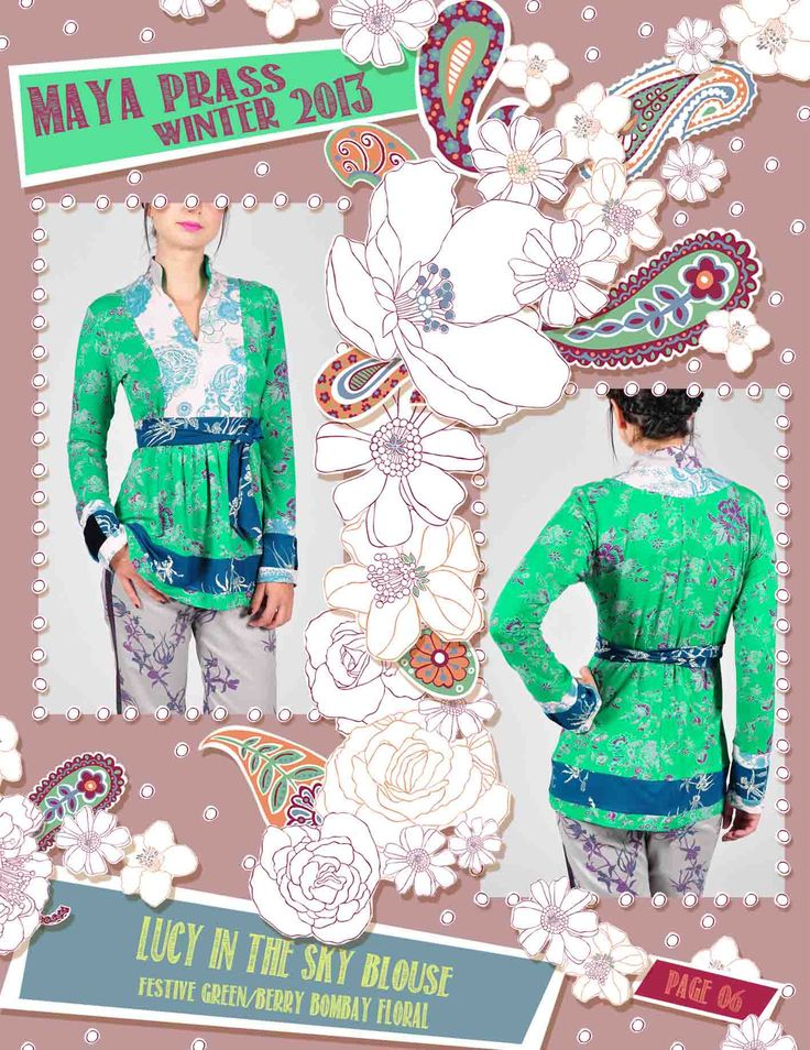 Lucy-in-the-Sky blouse vibrant green Bombay Floral