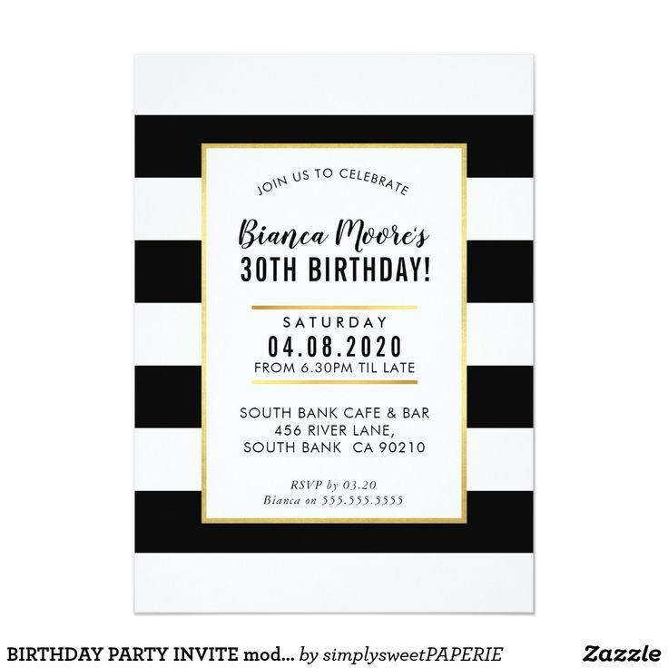 BIRTHDAY PARTY INVITE modern minimal black stripe #shopping  #birthdayinvitation #birthdayinvites #zazzlemade #zazzle #invites #invitations #manlyinvite #stylishinvitation #21stinvite #30thinvitation #40thinvitation
