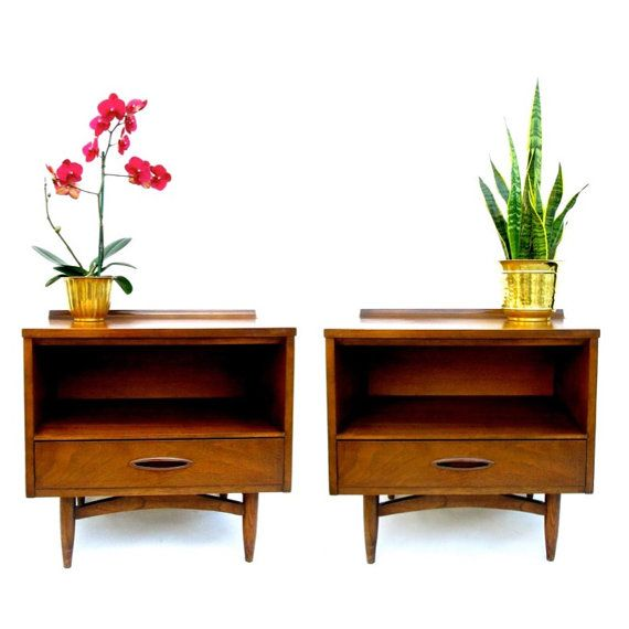 Pair Of Broyhill Sculptra Nightstands / Bedside, End, Or Side Tables || Mid.  Mid Century Modern ...