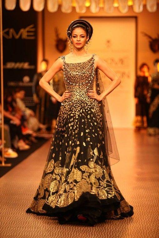 Nikhil Thampi black and gold anarkali dress