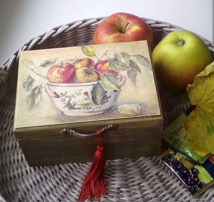 """Купить Чайная коробочка """"Осенние яблоки"""" в интернет магазине на Ярмарке Мастеров"""