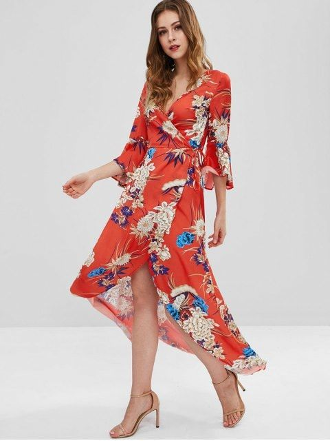 6a0c83282a Shop for  32% OFF  2019 Flare Sleeves Floral Wrap Dress in RED M of Maxi  Dresses and check 10000+ hottest styles at ZAFUL.