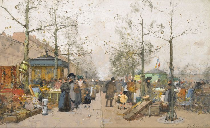 Париж, блошиный рынок, бульвар Ришар-Ленуар (19 х 31 см). Eugene Galien-Laloue